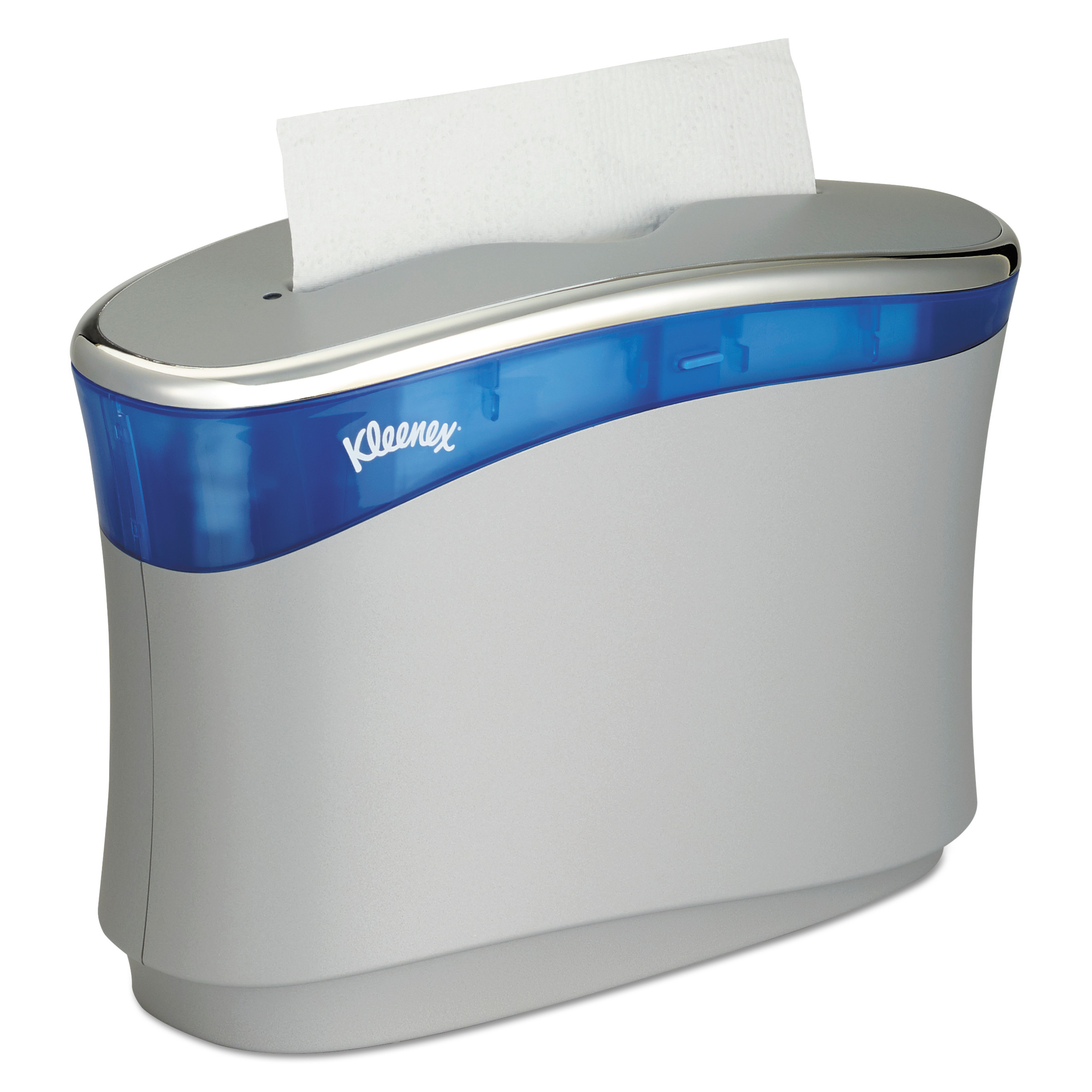 Kleenex Reveal Countertop Folded Towel Dispenser, 13.3x9x5.2, Soft Gray/Translucent Blue