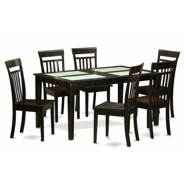 East West Furniture Cap7g Cap W 7 Piece Dining Table Set For 6 Dining Room Glass Top Table And 6 Dining Room Chairs Walmart Com Walmart Com
