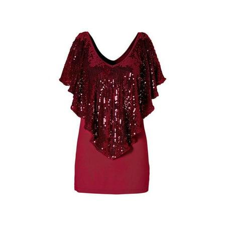 6c6e78ae19d29d Esho - Women Sequin Sparkle Glitter Tops Tank Short Sleeve T-Shirt Blouse -  Walmart.com