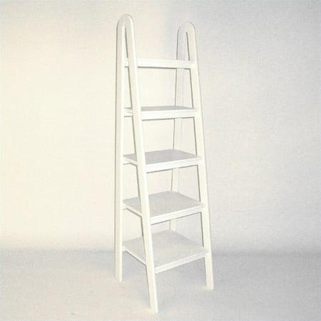 5 Tier Ladder - Scranton & Co Basswood 5 Tier Ladder Bookcase in White