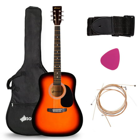 41 acoustic folk guitar 6 string w case strap pick strings beginners walmart canada. Black Bedroom Furniture Sets. Home Design Ideas