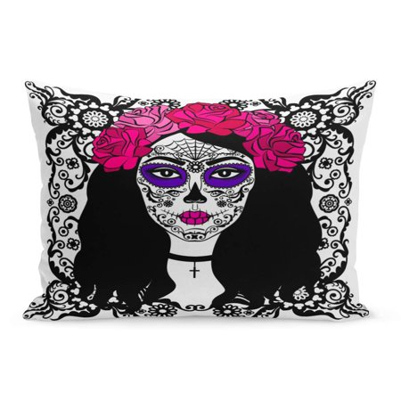 ECCOT Black Tattoo Girl Sugar Skull Makeup Calavera Catrina Mexican Pillowcase Pillow Cover Cushion Case 20x30 inch - La Catrina Sugar Skull