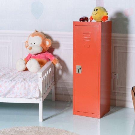 Costway 48'' Kid Locker Safe Storage Children Single Tier Metal Lockers Lock And Key Orange