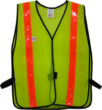 Click here to buy Safety Vests Lime Standard (1 3 8 inch Orange Stripes).