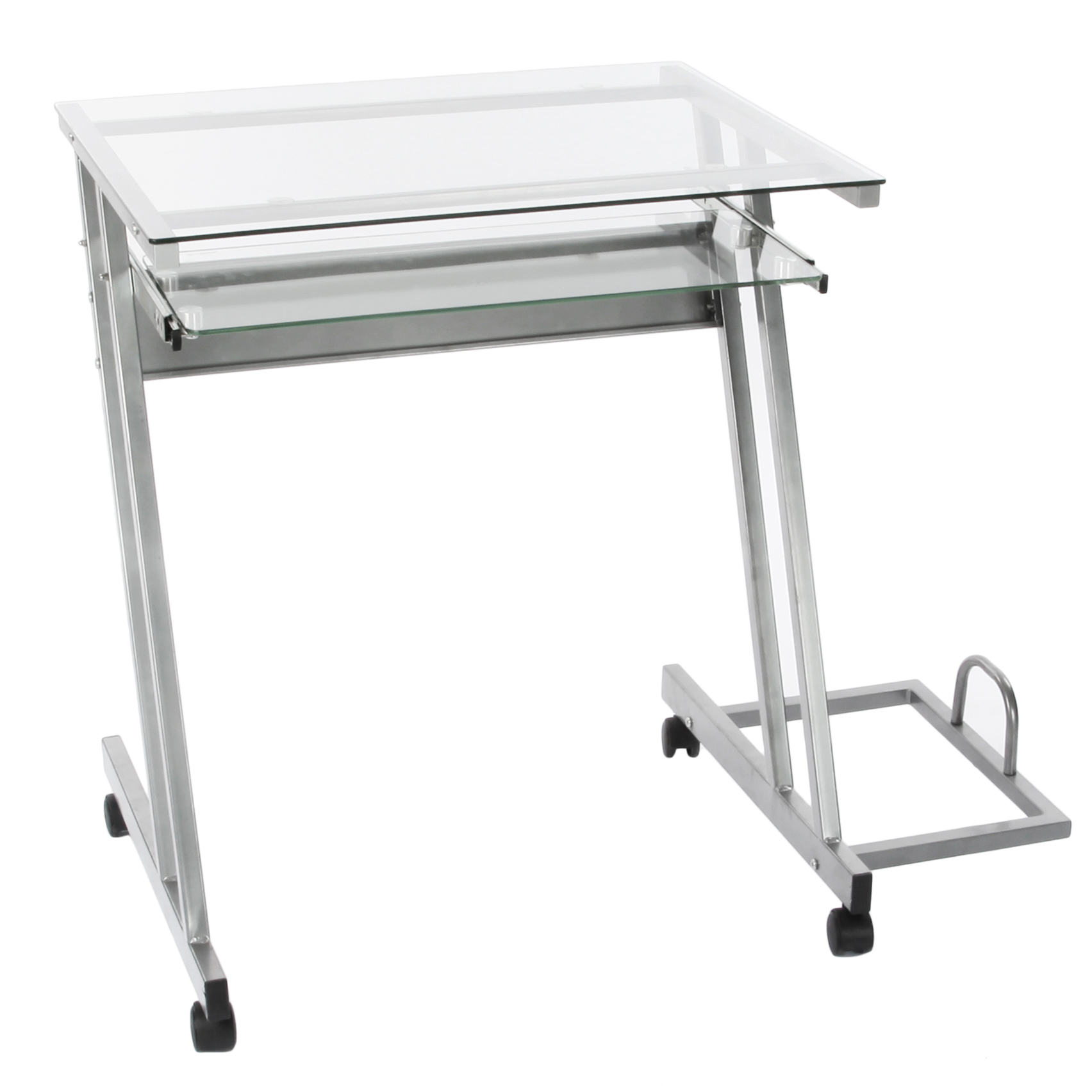 Mobile Glass Computer Desk/Laptop Table With Pull Out Keyboard Tray