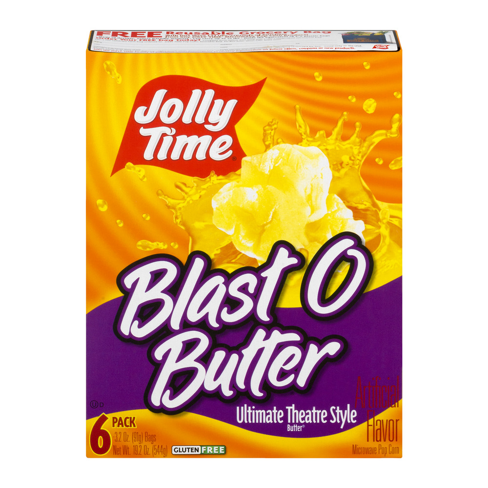 Jolly Time Blast O Butter Ultimate Theatre Style Butter Microwave Pop Corn, 3.2 oz, 6 ct