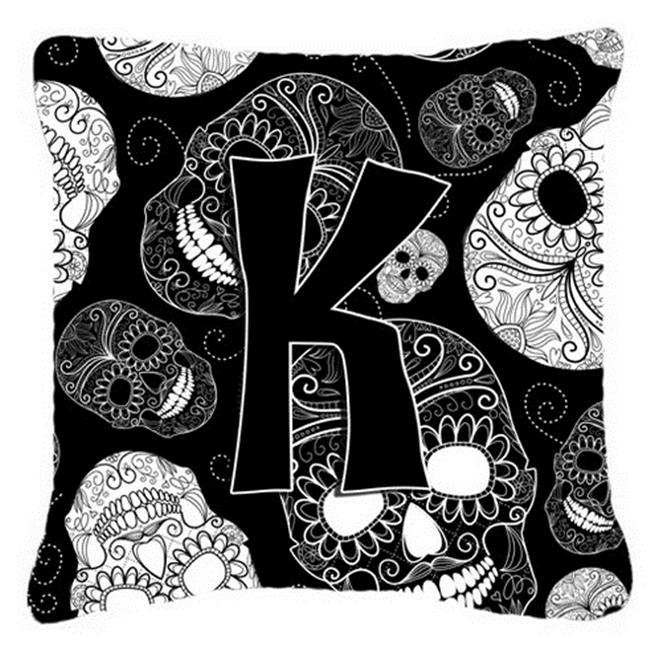 Carolines Treasures CJ2008-KPW1414 Letter K Day Of The Dead Skulls Black Canvas Fabric Decorative Pillow - image 1 de 1