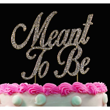 Meant To Be Bling Crystal Silver Wedding Cake Topper