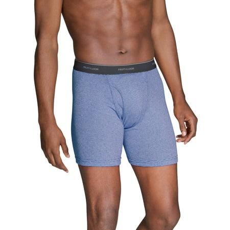 Men's Dual Defense Stripe/Solid Boxer Briefs, 5 (Athletic Boxer Briefs)