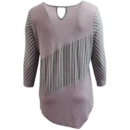 77a8c7ffe0 BNY Corner - Women's Plus-Size Thick Thin Asymmetrical Stripes Keyhole  Fashion Blouse Tee Shirt Knit Top Pink 2X G160.09L - Walmart.com