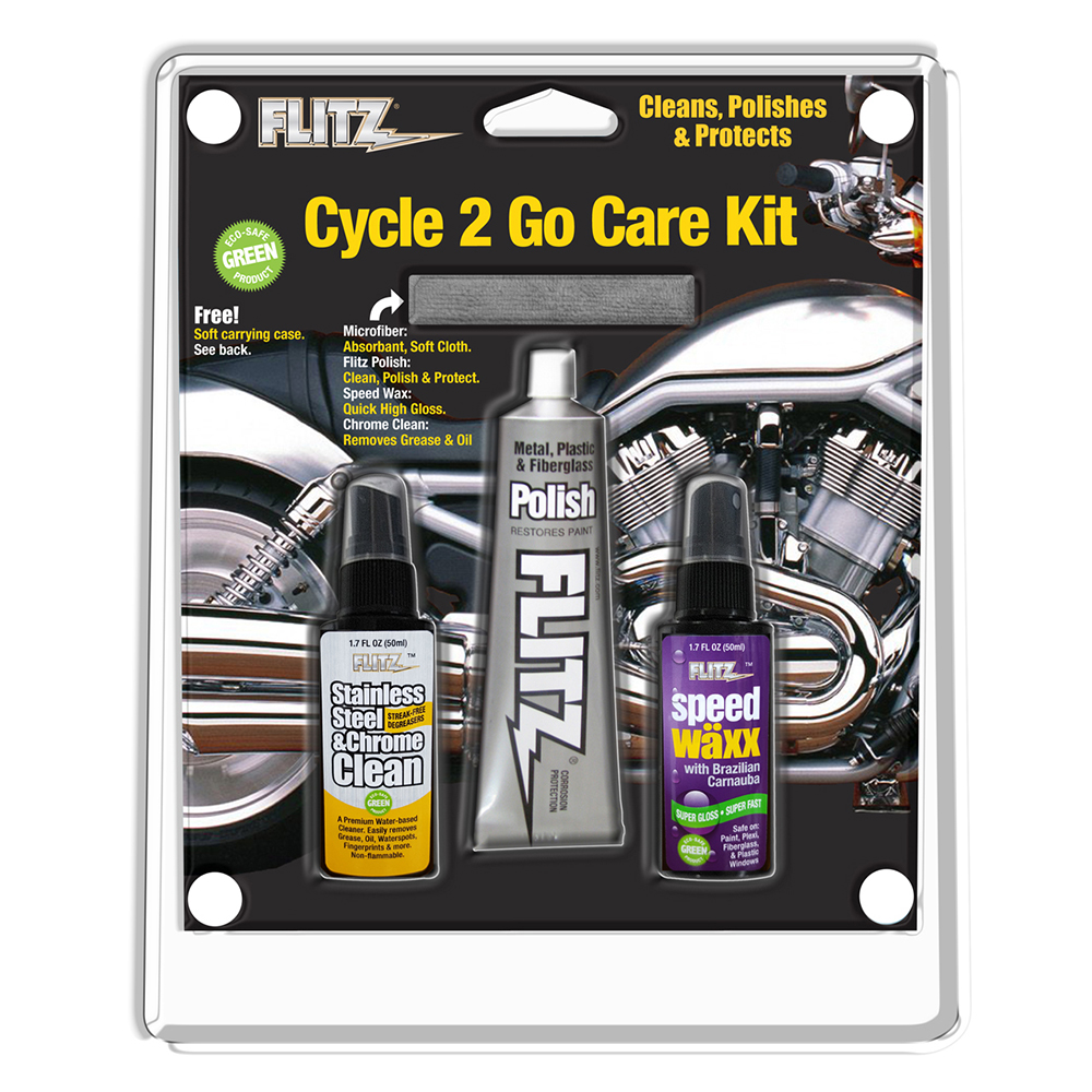 FLITZ CYCLE2GO CARE KIT METAL POLISH SS CLEANER SPEED WAX
