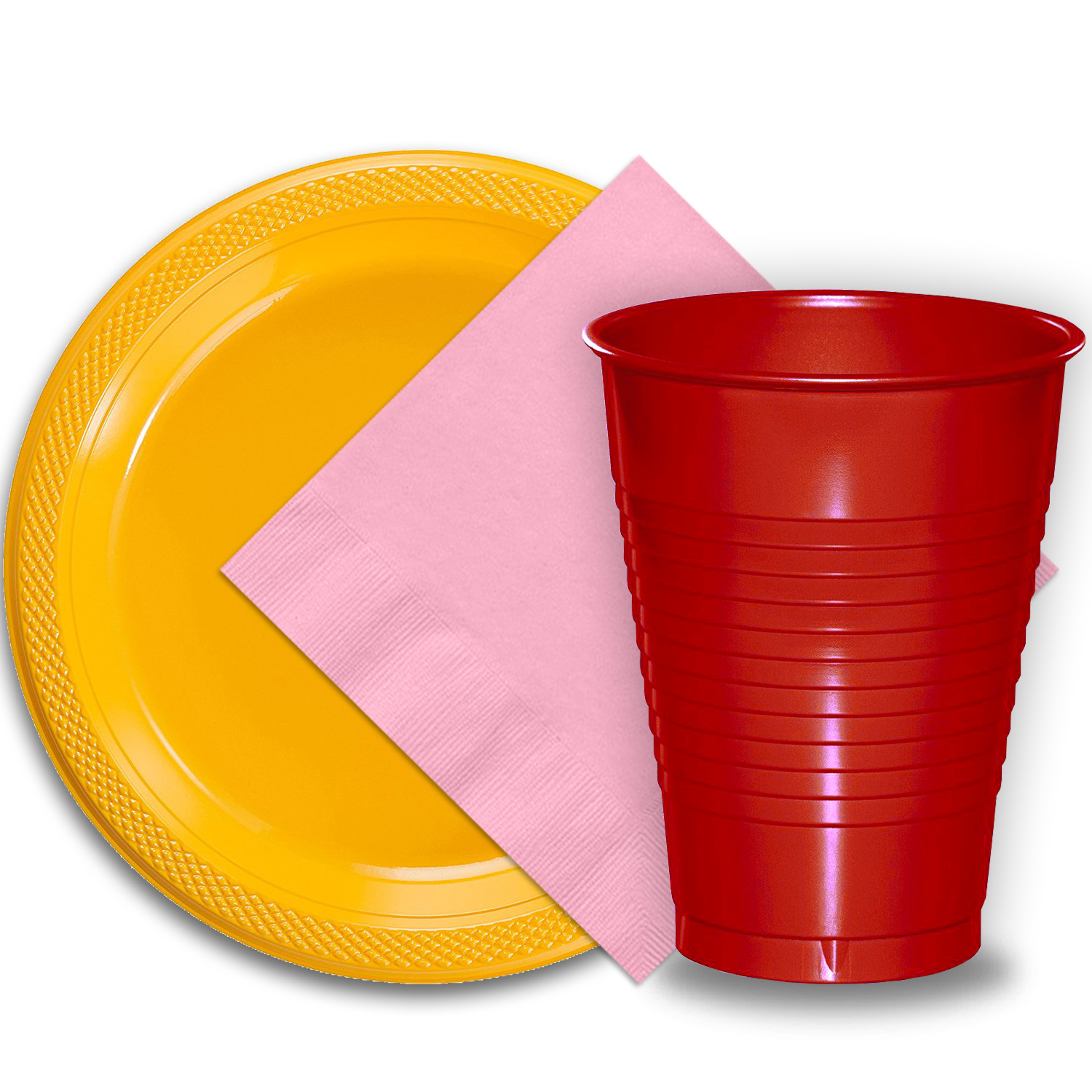 "50 Yellow Plastic Plates (9""), 50 Red Plastic Cups (12 oz.), and 50 Pink Paper Napkins, Dazzelling Colored Disposable Party Supplies Tableware Set for Fifty Guests."
