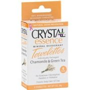 Crystal Essence Mineral Deodorant Towelettes-Chamomile & Green Tea Box Crystal Body Deodorant 6 pc Pack