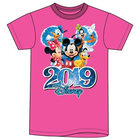 Disney Plus Size 2019 Dated Fabulous Group Mickey Minnie Donald Goofy Pluto (No Namedrop) 2X Pink - Disney Size Chart