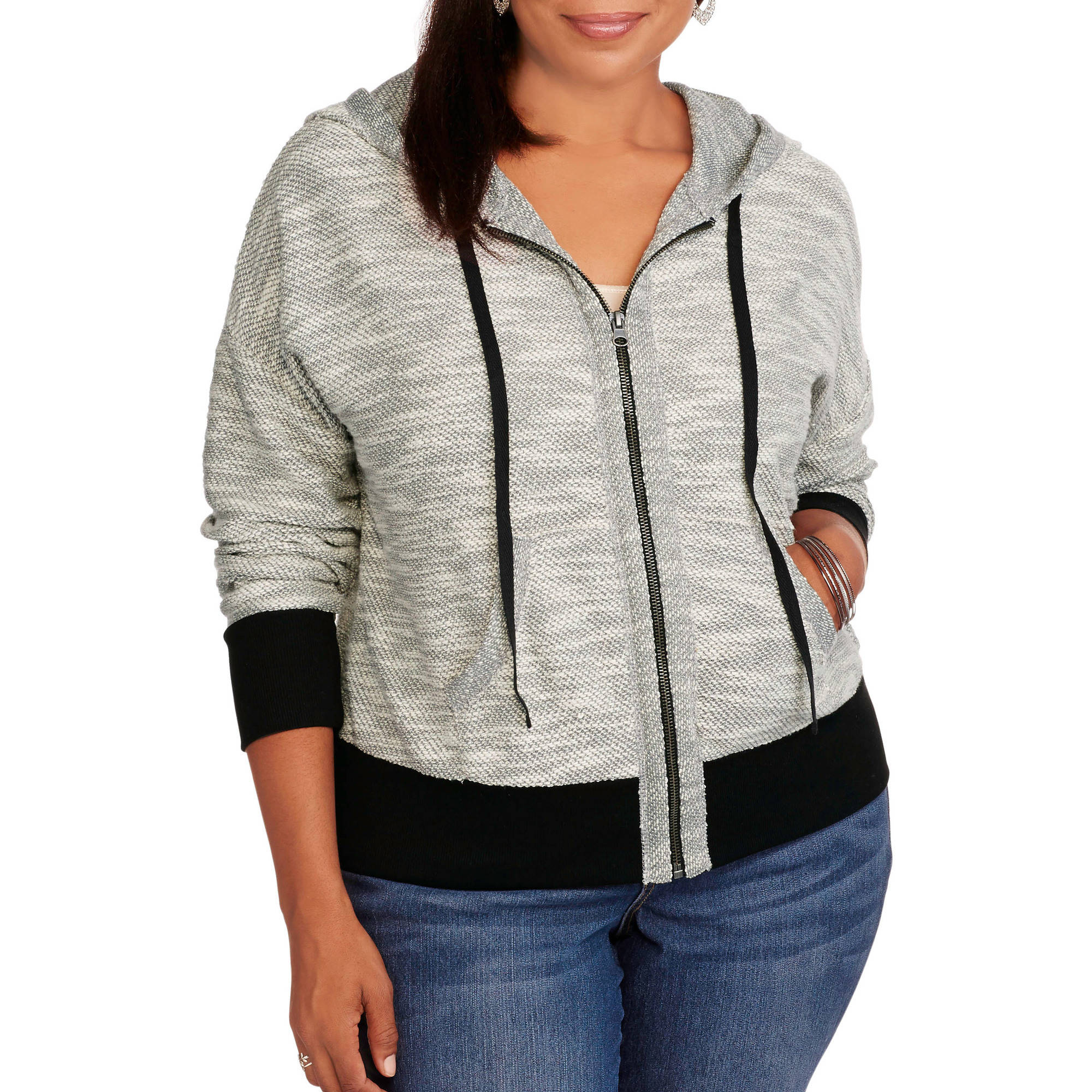 Concepts Women's Plus Zip Front French Terry Hoodie
