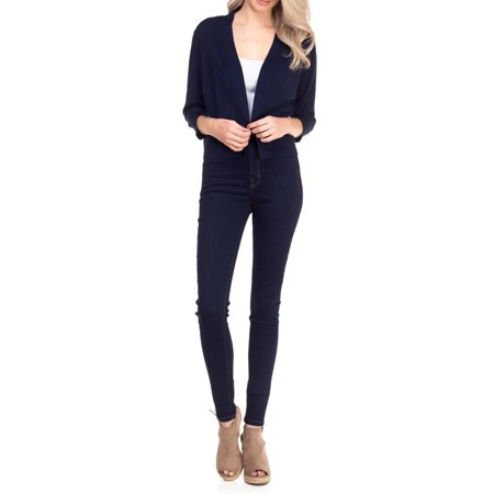Women 3/4 Sleeve Solid Open Bolero Cropped Cardigan Neck Cropped Cardigan