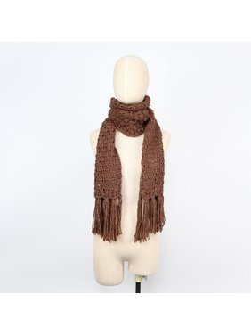 Women's Soft Acrylic Neat Brown Knitted Tassel Design Neck Warmer Scarf