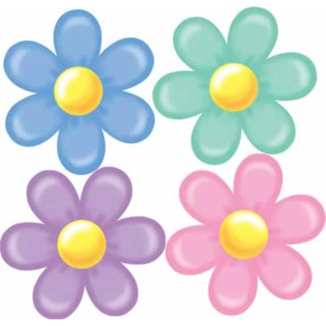 Beistle - 55007 - Pkgd Retro Flower Cutouts- Pack of 12