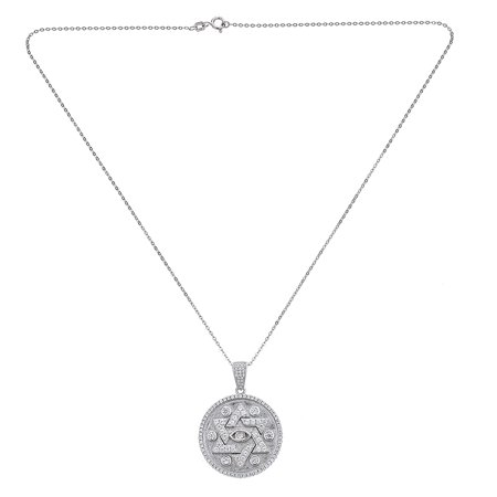 925 Sterling Silver Mens Disc With Star Of David Pendant Necklace  Cz Stones  24 Link   Box Chains