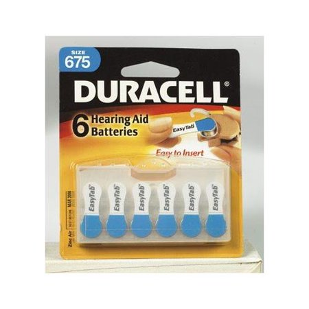 Duracell Easy Tab Hearing Aid Batteries #675 6 count Each (Prep Tab E)