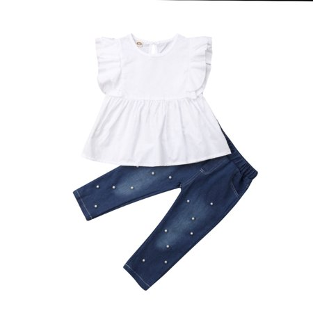 Kids Pearl (2PCS Toddler Kids Baby Girl Clothes Ruffles Tops T-Shirt+ Pearl Denim Pants Summer Outfits Set)