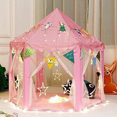 girls princess play tent kids children indoor castle large play tents with star string lights. Black Bedroom Furniture Sets. Home Design Ideas