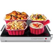 Chefman Compact Glasstop Warming Tray with Adjustable Temperature Control Perfect for Buffets, Restaurants, Parties, Events, Home Dinners and Travel, Mini 15x12 Inch Surface, Keeps Food Hot, Black