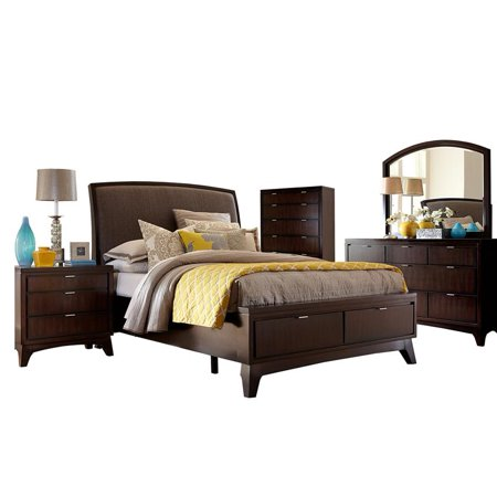 Denmark 5 Piece Bedroom Set With Storage Footboard Size King