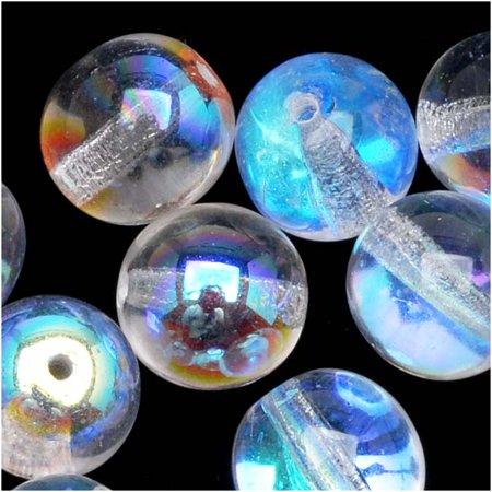 Czech Glass Druk Round Beads 6mm Crystal AB (25) ()