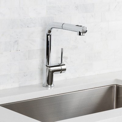 Single Handle Deck Mounted Kitchen Faucet Finish: Chrome