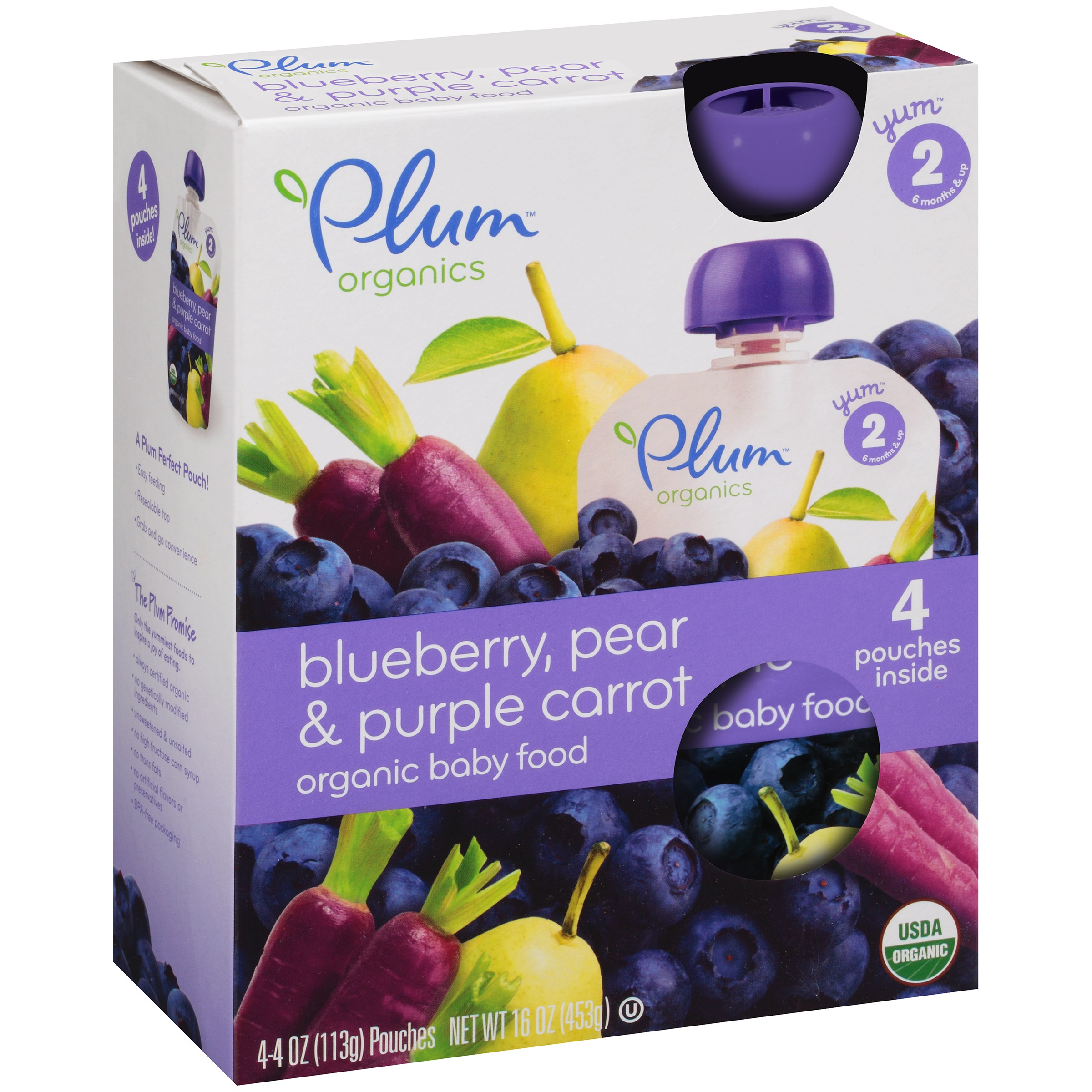 Plum Organics Stage 2 Blueberry, Pear & Purple Carrot Organic Baby Food 4-4 oz. Pouches
