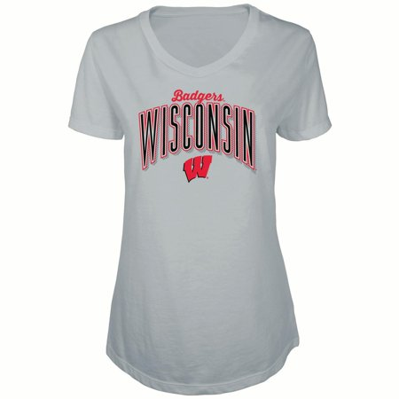 Women's Russell Heathered Gray Wisconsin Badgers Tunic Cap Sleeve V-Neck