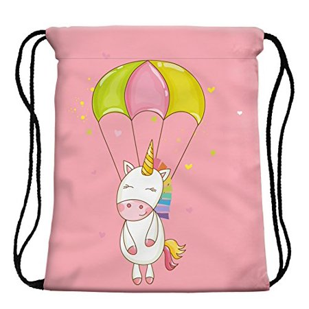 37bf68b1ea49 StylesILove My Unicorn World Graphic Print Gym Girls Womens Drawstring  Backpack (Parachute Pink)