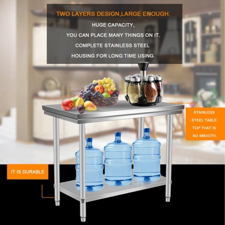 Remarkable Stainless Steel Kitchen Work Bench 2 Layers Commercial Theyellowbook Wood Chair Design Ideas Theyellowbookinfo