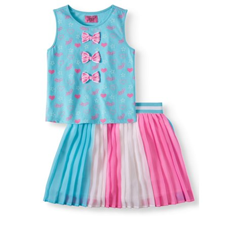 Bow Tank and Pleated Skirt, 2-Piece Outfit Set (Little Girls & Big Girls) - 50s Girl Outfit