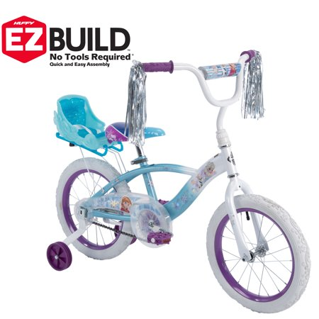 Huffy Disney Frozen 16u0022 EZ Build Girls Bike with Sleigh Doll Carrier, White/Blue