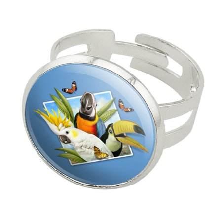 Tropical Birds Selfie Parrot Toucan Silver Plated Adjustable Novelty Ring
