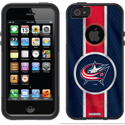 Columbus Blue Jackets Jersey Stripe Design on OtterBox Commuter Series Case for Apple iPhone 5/5s