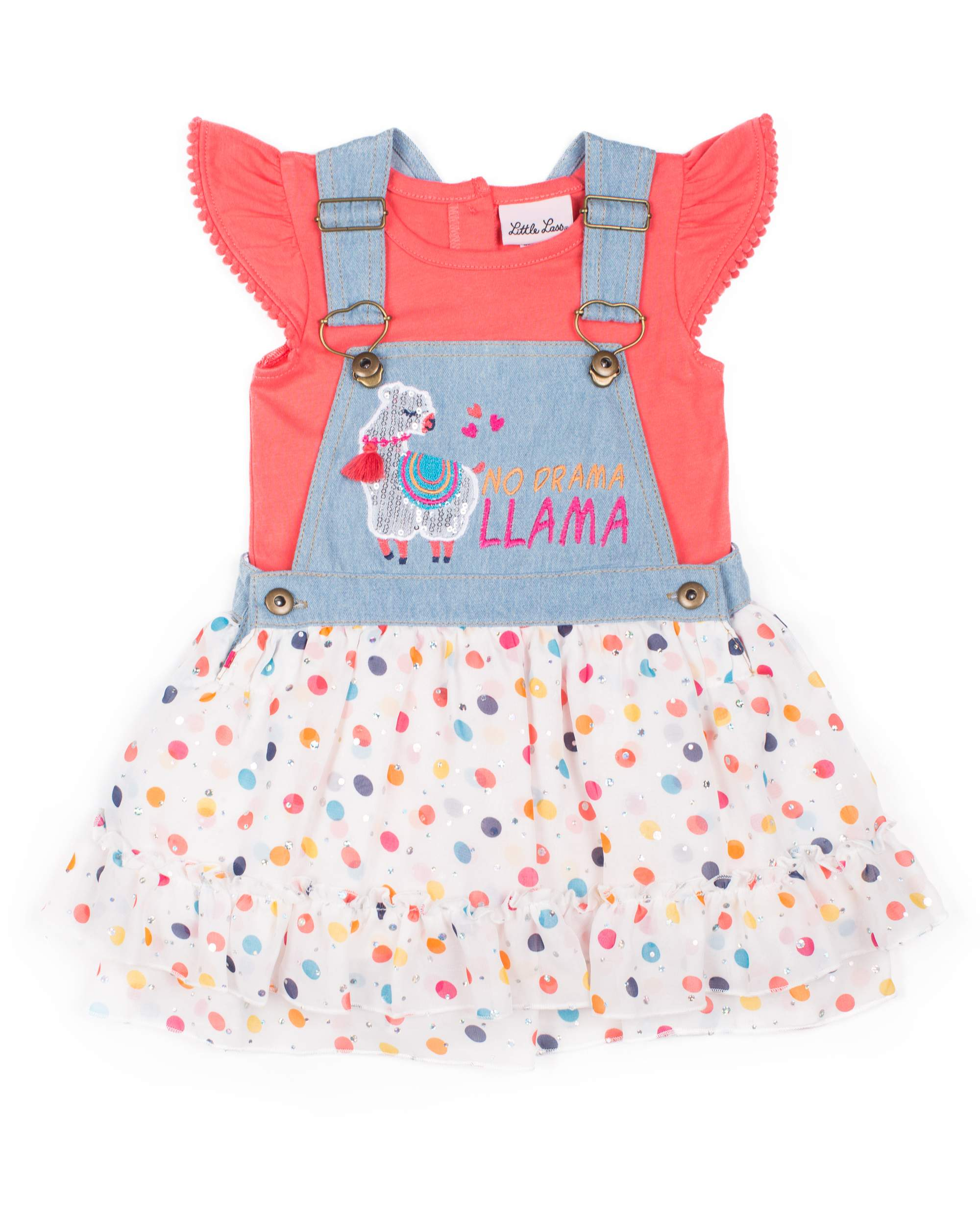 Short Sleeve T-shirt & Polka Dot Chiffon Skirtall, 2pc Outfit Set (Baby Girls & Toddler Girls)