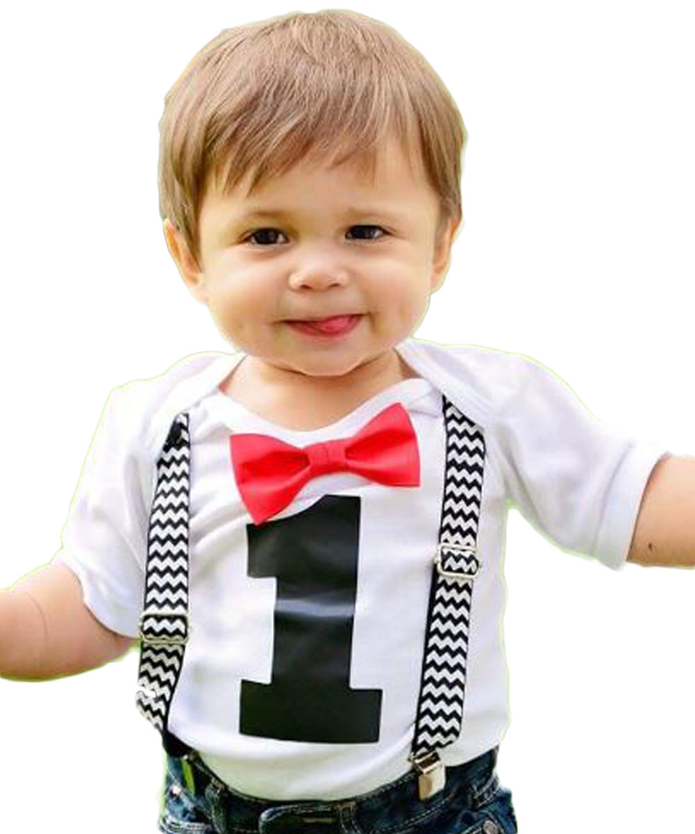 Noah's Boytique 1st Birthday Cake Smash Outfit Red Bow and Suspenders Black Chevron 18-24 Months