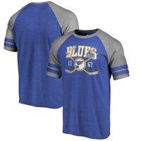 St. Louis Blues Fanatics Branded Vintage Collection Line Shift Tri-Blend Raglan T-Shirt - Royal