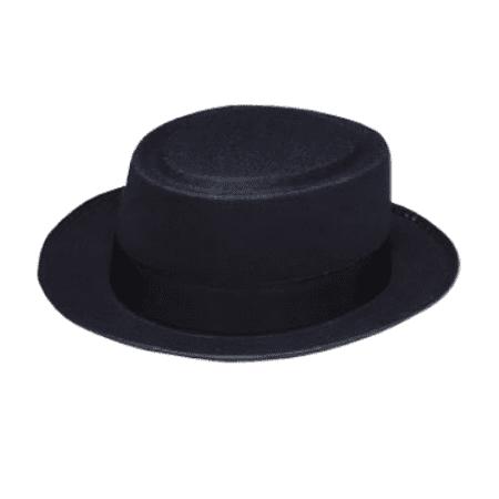 db9f41b343c Walter White Black Pork Pie Hat Heisenberg Costume Breaking Bad Fedora Flat  Top - Walmart.com