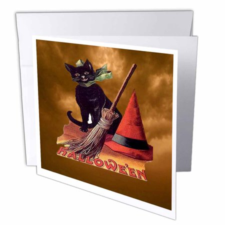 3dRose Vintage Halloween Black Cat, Greeting Cards, 6 x 6 inches, set of 6