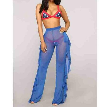 Hot Women High Waist See Through Flared Leg Mesh Summer Beach Long Pants Trouser (Patent Hot Pants)