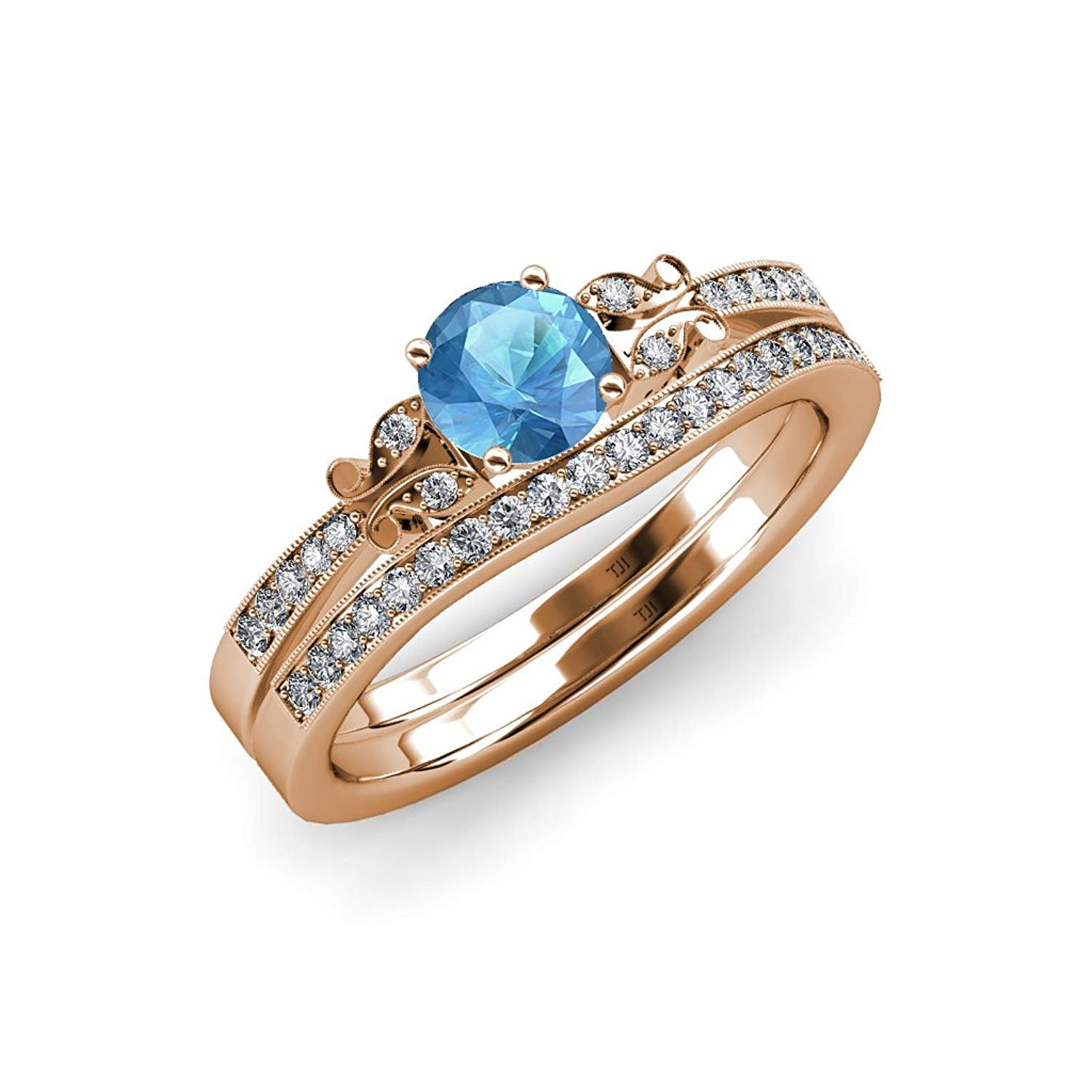 Blue Topaz & Diamond Butterfly Engagement Ring & Wedding Band Set 1.40 ct tw in 14K Rose Gold.size 6.0 by TriJewels