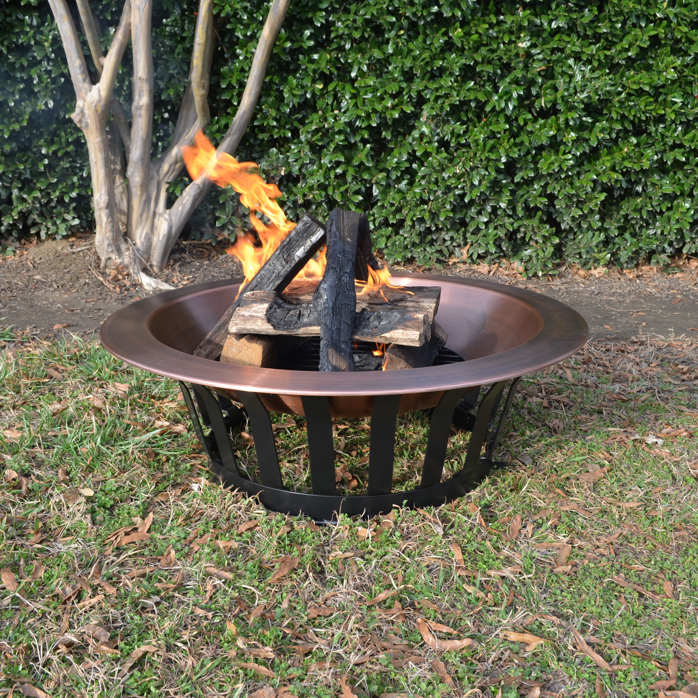 Titan Great Outdoors Copper Outdoor Fire Pit 40 Solid Steel Base Fire Iron Tool Walmart Com Walmart Com