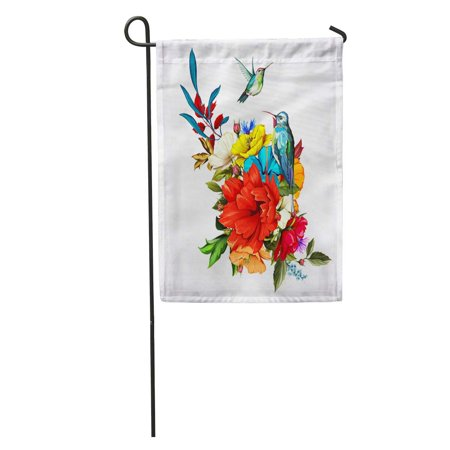 KDAGR Bouquet of Flowers Roses Poppy Cornflowers and Two Hummingbirds Around Garden Flag Decorative Flag House Banner 12x18