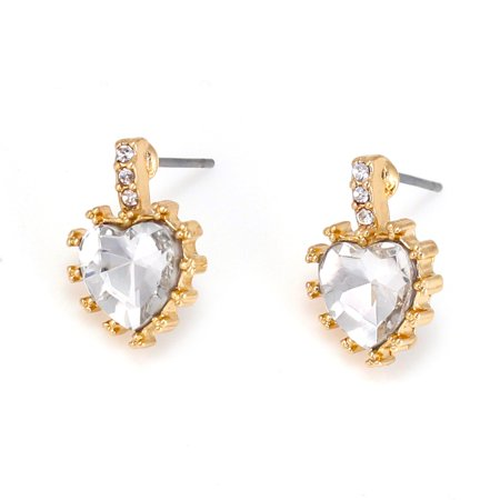 TAZZA WOMEN'S GOLD HEART CRYSTAL STUD EARRINGS VALENTINES DAY GIFT IDEA FOR - Halloween Earrings Ideas