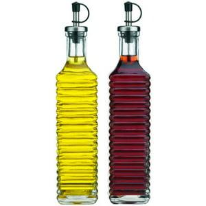 Palais Glassware Oil & Vinegar Clear Glass Dispenser Cruet Bottle, with Silver and Black Spout, 17 Oz - Set of 2