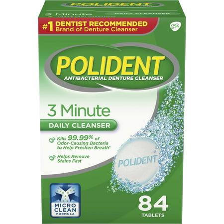 Antibacterial Denture Cleanser ((2 pack) Polident 3 Minute Triple Mint Antibacterial Denture Cleanser Effervescent Tablets, 84 count)